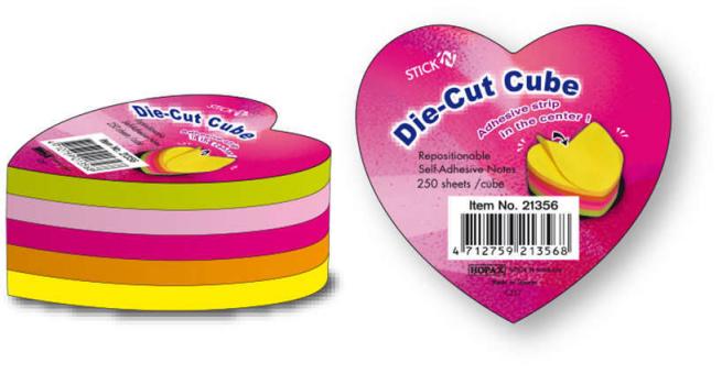 Blocco foglietti rimovibili, forma cuore, colori neon assortiti, 64x67mm, confezione da 250 fogli