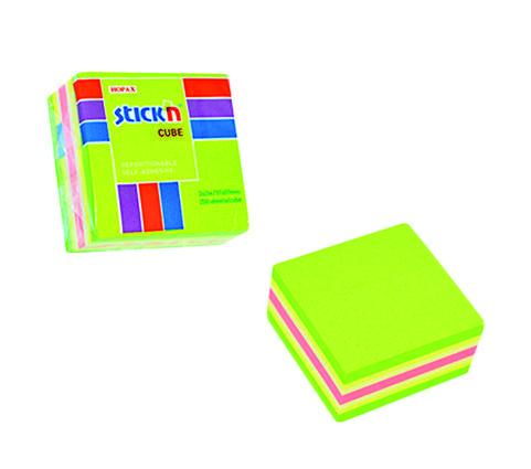 Blocco foglietti rimovibili, colori neon e pastello verde, 51x 51mm, confezione da 250 fogli