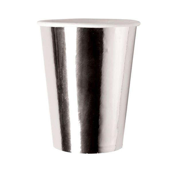 Bicchiere cartoncino 250cc argento metallizato confezione 8 pezzi
