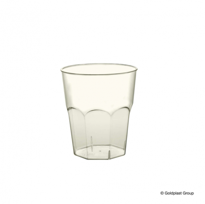 Bicchiere plastica in plastica (PS) trasparente base ottagonale