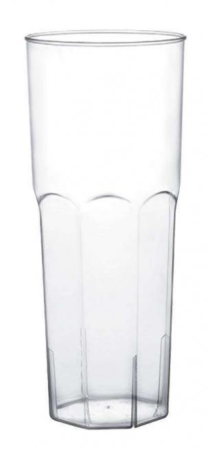BICCHIERE LONG DRINK IN PLASTICA PS TRASPARENTE BASE OTTAGONALE 360CC CONFEZIONE DA 10 PEZZI