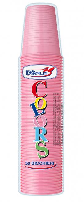 Bicchiere di plastica rosa 200 cc in confezione da 50 pezzi
