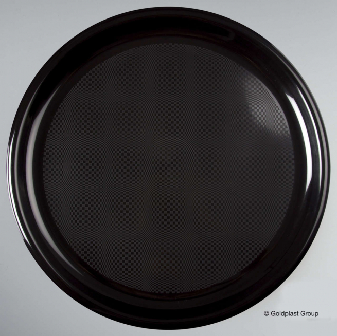 Piatto pizza nero diametro 35cm  in plastica PP confezione da 12 pezzi