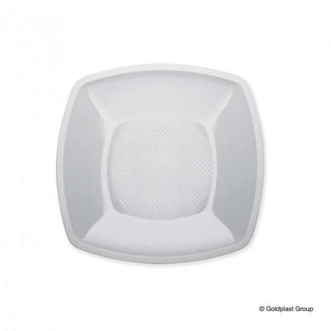 Piatto quadrato linea square in plastica PP bianco