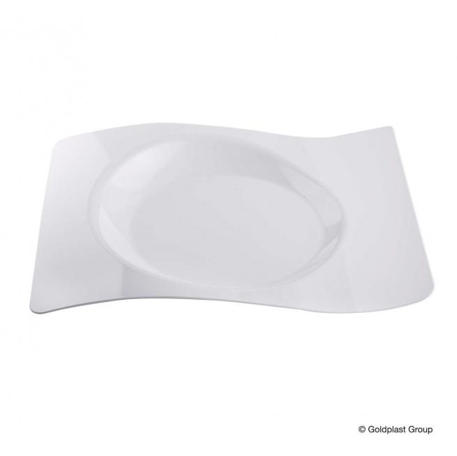 Piatto piano onda design bianco 23x28cm confezione da 12 pezzi
