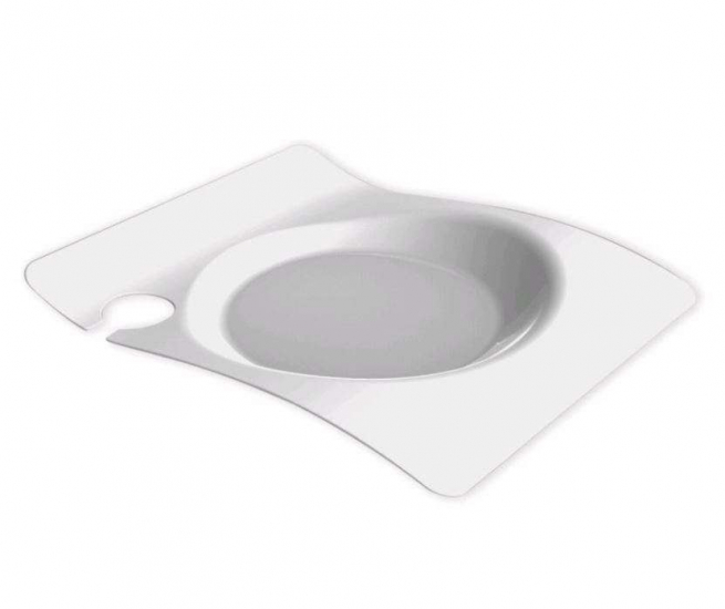 Piatto dessert onda design bianco 18x22cm  in plastica PS con porta calice flutes confezione da 12 pezzi
