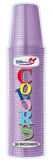 Bicchiere di plastica lilla 200 cc in confezione da 50 pezzi