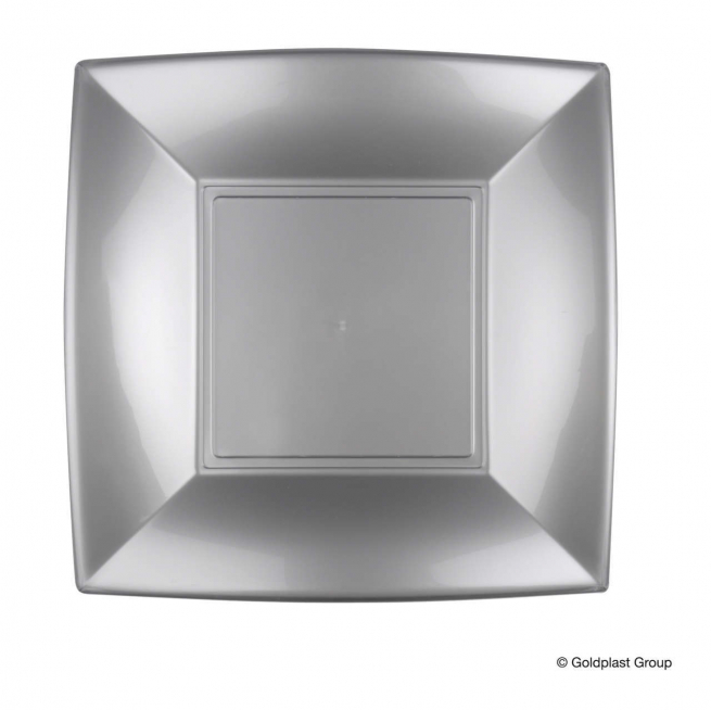 Piatto quadrato linea nice in plastica PP grigio