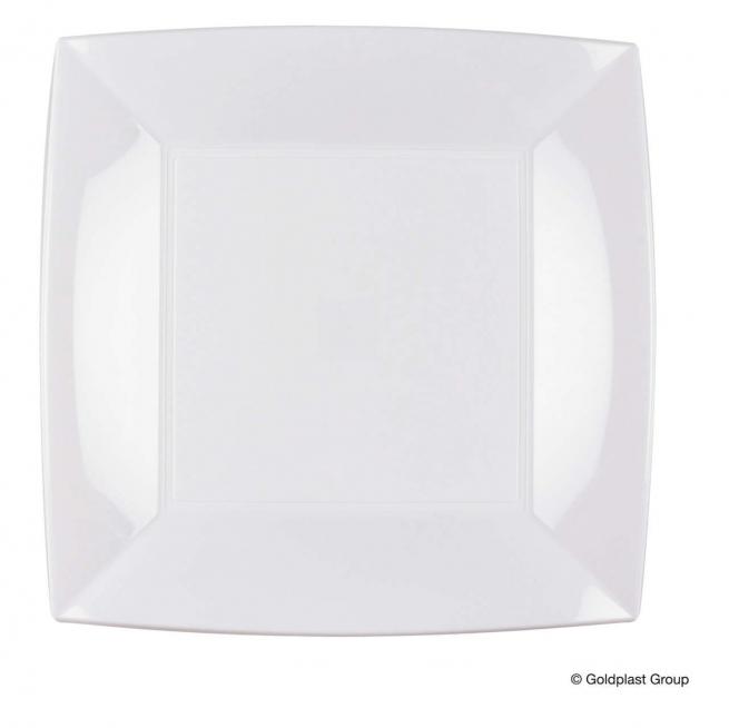 Piatto piano quadrato linea nice bianco in plastica PP confezione da 25 pezzi
