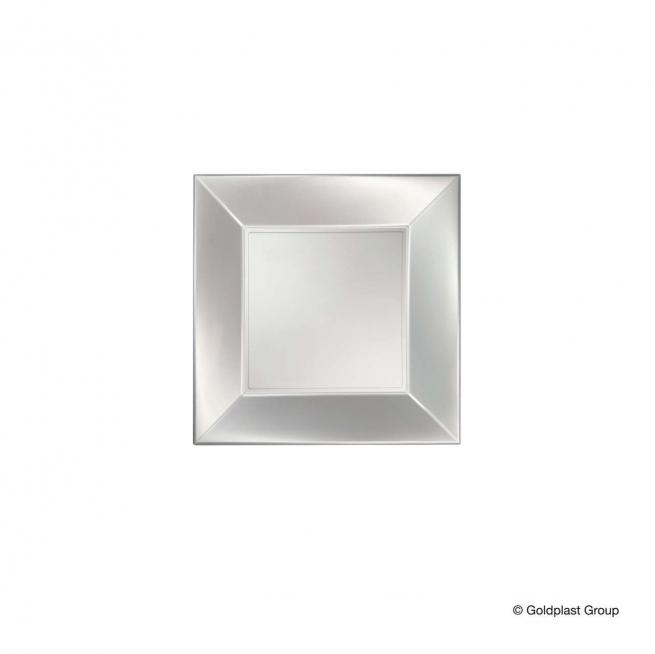 Piatto quadrato linea nice in plastica PP bianco perlato
