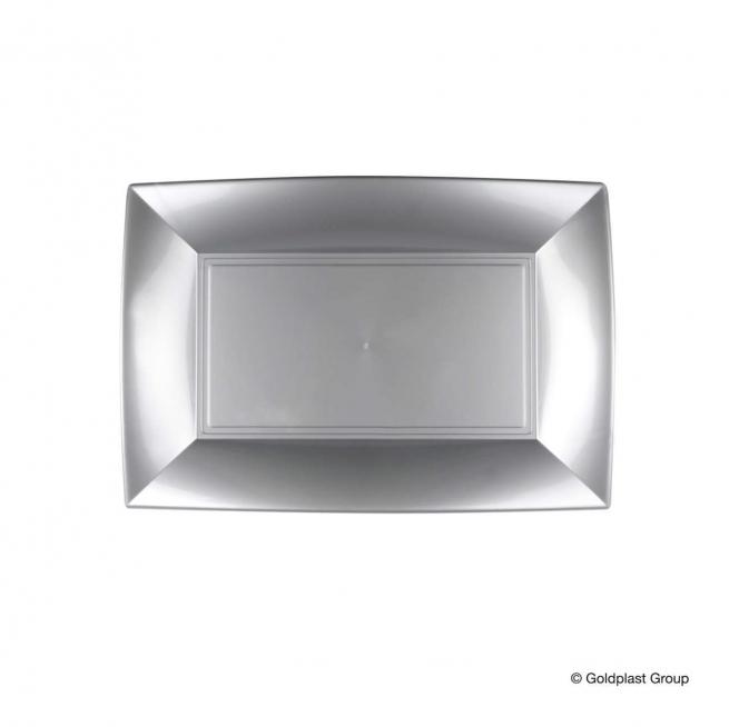 Piatto rettangolare linea nice in plastica PP grigio