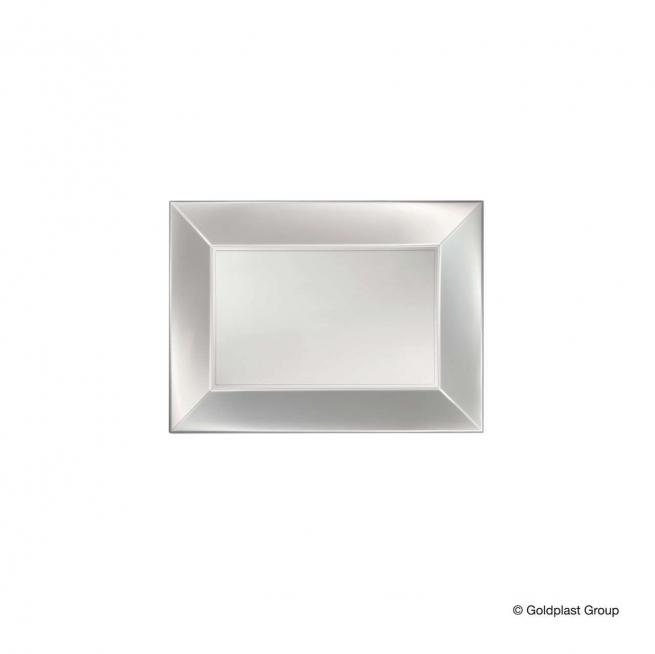 Piatto rettangolare linea nice in plastica PP bianco perlato