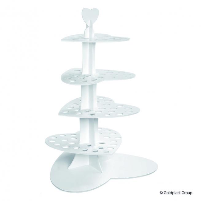 Alzata love design in cartoncino bianco per esposizione coni e fingerfood h. 75 cm.