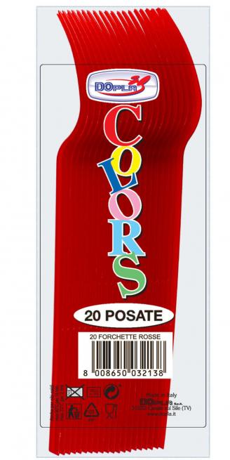Forchetta di plastica rossa in confezione da 20 pezzi