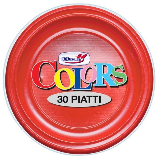 Piatto piano di plastica rosso diametro cm 22 in confezioni da 30 pezzi