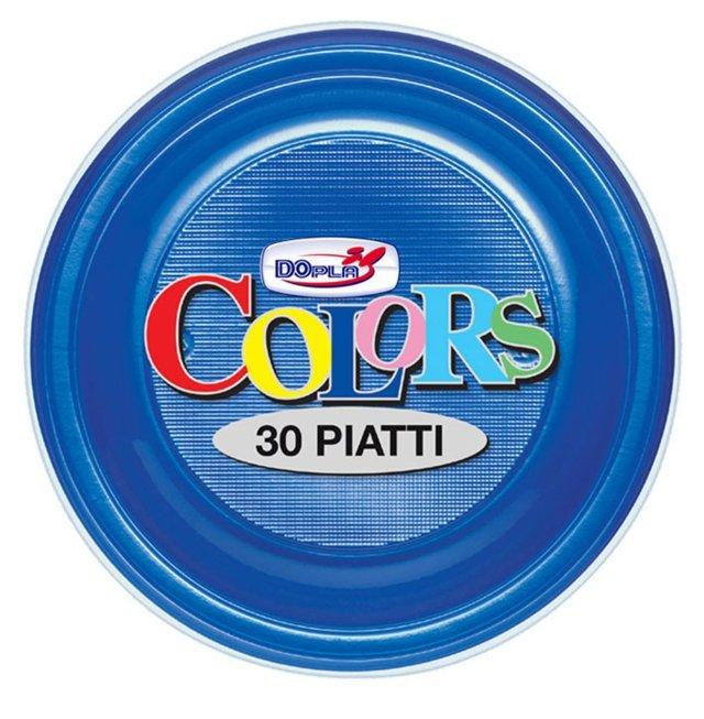 Piatto piano di plastica blu diametro cm 22 in confezione da 30 pezzi