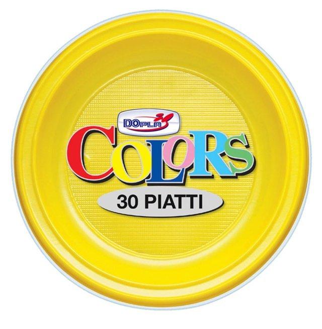 Piatto piano di plastiica giallo diametro cm 22 in confezione da 30 pezzi