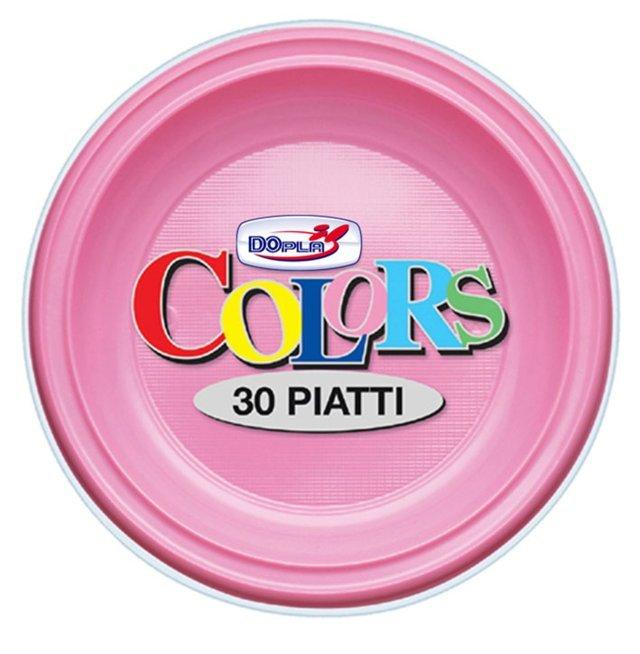 Piatto piano di plastica rosa diametro cm 22 in confezione da 30 pezzi