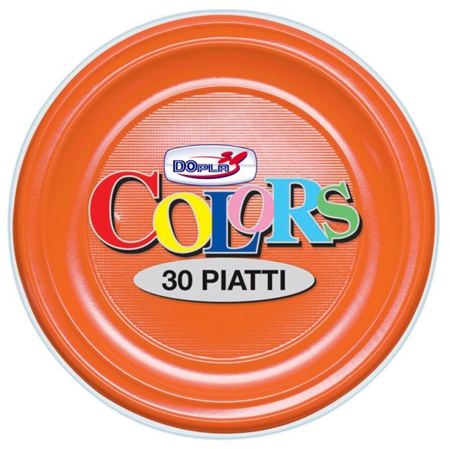 Piatto piano di plastica arancione diametro cm 22 in confezione da 30 pezzi