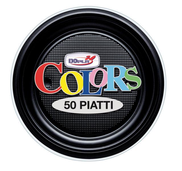Piatto piano di plastica nero diametro cm 16 in confezioni da 50 pezzi