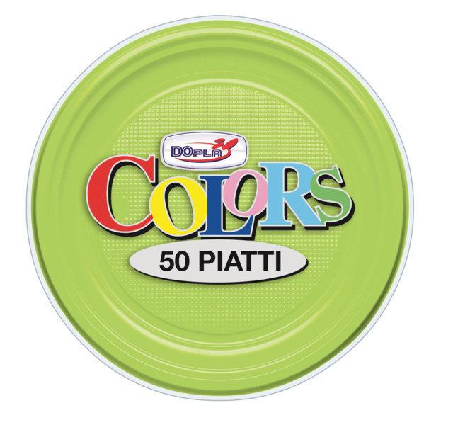 Piatto piano di plastica verde acido diametro cm 16 in confezioni da 50 pezzi
