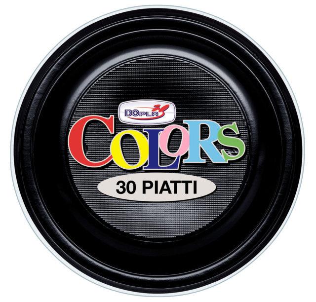 Piatto piano di plastica nero diametro cm 22 in confezioni da 30 pezzi