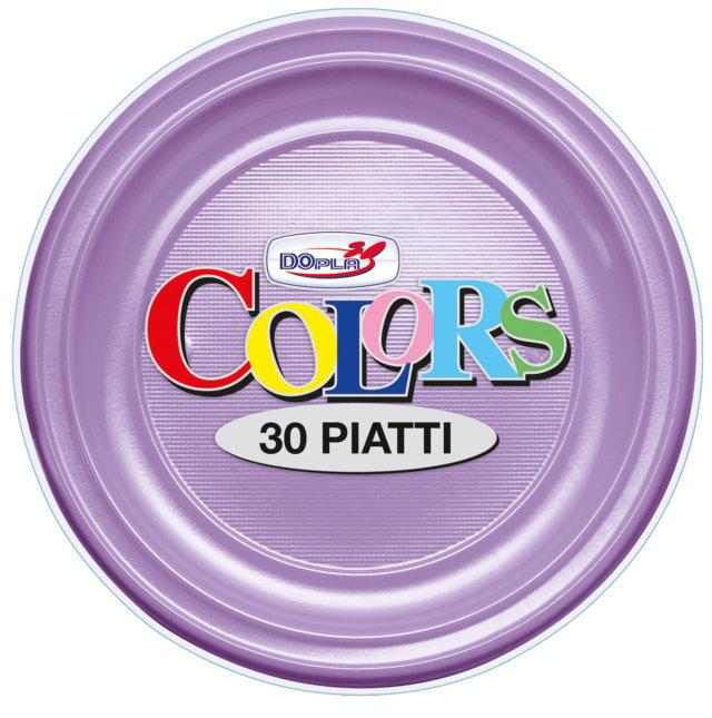 Piatto piano di plastica lilla diametro cm 22 in confezioni da 30 pezzi