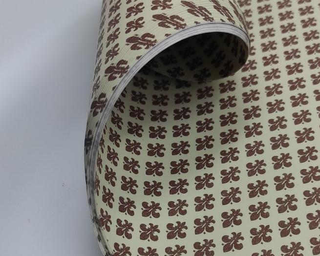 Carta regalo crema in fogli, fantasia giglio di firenze marrone, cm 70x100, confezione da 25 fogli