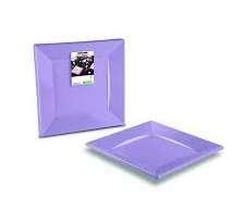 Piatto piano quadro plastica lilla 24x24 cm confezione da 12 pezzi