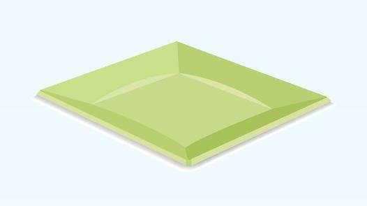 Piatto piano quadro plastica verde mela 24x24 cm confezione da 12 pezzi