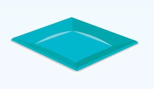 Piatto piano quadro plastica tiffany 24x24 cm confezione da 12 pezzi