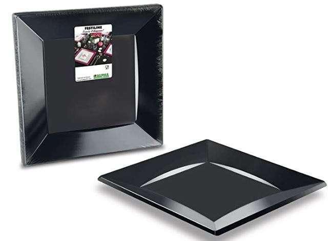 Piatto piano quadro plastica nero 30x30 cm confezione da 12 pezzi