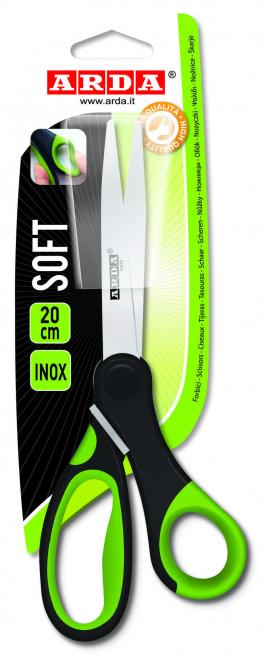Forbici da ufficio inox soft con impugnatura nero verde cm 20