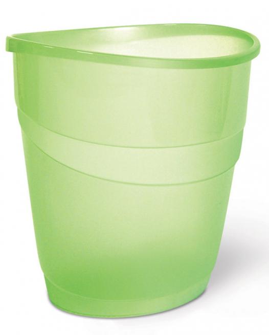 Cestino gettacarte ovale verde trasparente diametro cm 23.5 x h 34 lt 16