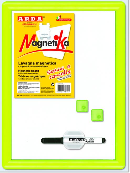 Lavagna magnetica bianca con accessori trasparenti