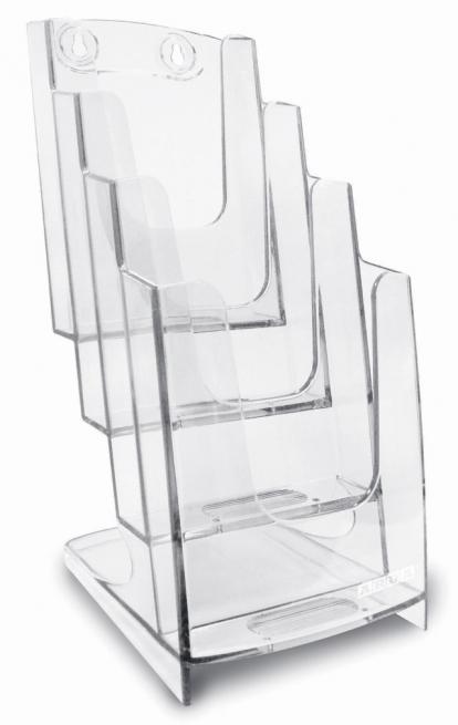 Portadepliant trasparente formato 1/3 di A4 modello 4 tasche cm 27.3 x 45.7 x 24.6