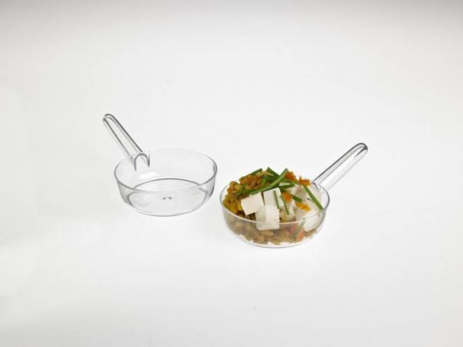Mini padella fingerfood trasparente 40cc confezione da 12 pezzi
