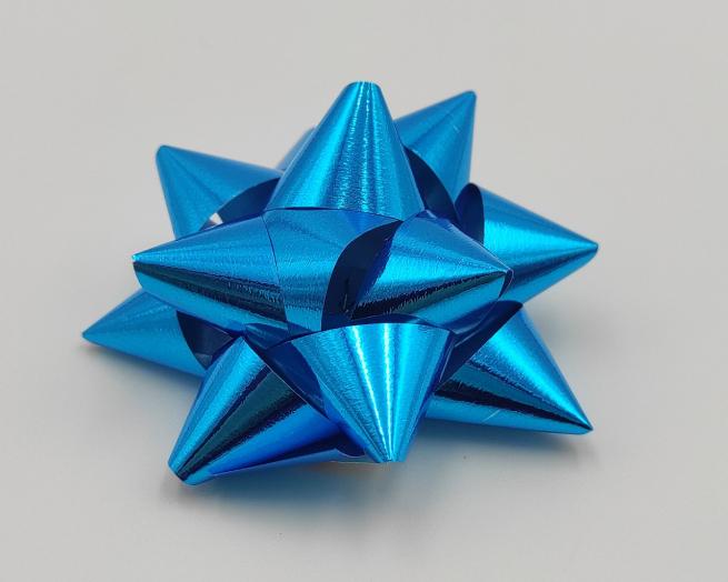 Coccarda stella adesiva lux turchese metallizzato mm 19 confezione da 100 pezzi