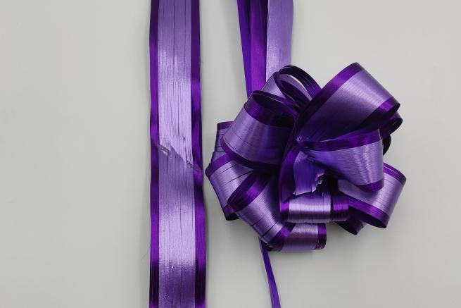 Coccarda laccio paper bicolore metallizzato viola e lilla mm 50 confezione da 10 pezzi