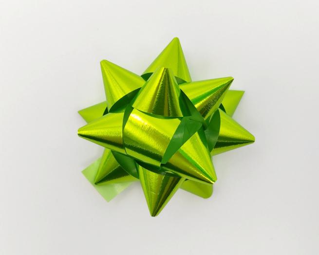 Coccarda stella adesiva lux verde acido metallizzato mm 19 confezione da 100 pezzi