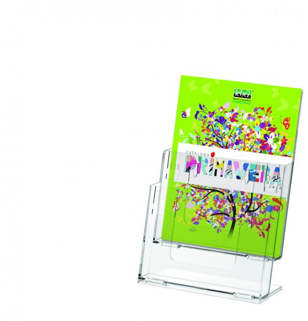 Porta depliant a due tasche componibile formato A4, da parete o da appoggio, in acrilico trasparente