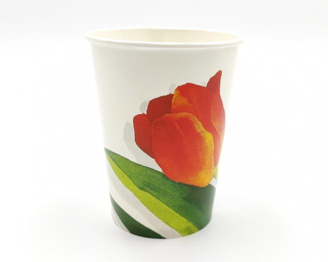 Bicchiere cartoncino 250cc con stampa tulipano confezione 10 pezzi