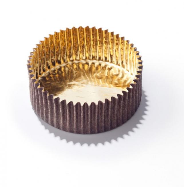 Pirottino rotondo marrone con interno oro impermeabile, confezione da 1000 pezzi