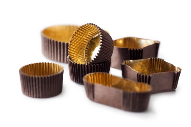 Pirottino quadrato marrone con interno oro impermeabile, confezione da 1000 pezzi