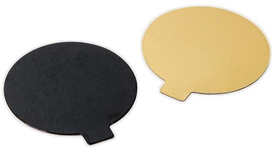 Disco monoporzione cartone oro / nero liscio, confezione da 200 pezzi