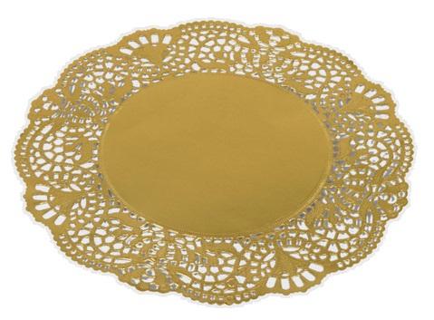 Pizzo rotondo smerlato in carta oro, confezione da 100 pezzi