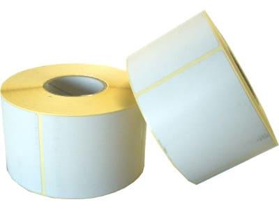 Etichette in carta adesiva bianca misura 47x81 mm, foro 40, in rotolo da 750 etichette