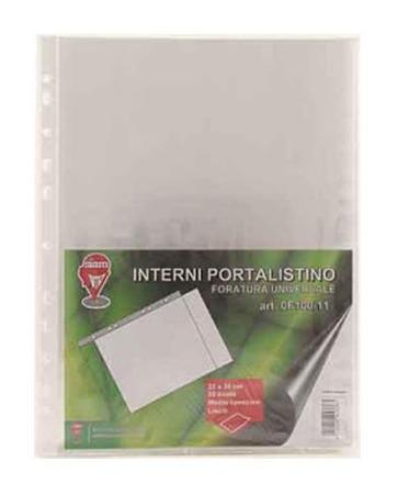 Interni portalistini liscio, spessore medio, formato A4, confezione da 50 pezzi