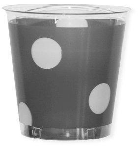 Bicchiere plastica 300cc argento con pois bianchi confezione da 10 pezzi