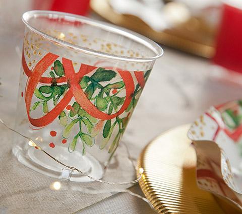 Bicchiere plastica 300cc fantasia christmas bouquet confezione da 8 pezzi